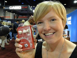 TC Helicon s Laura Davidson looks mighty happy with the Mic Mechanic