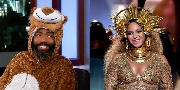 Donald Glover in a Lion suit on Jimmy Kimmel and Beyonce in gold at the Grammys