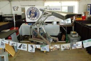 The Dust Devil team from the University of Akron and Elon University created this moon dirt digging robot for NASA's 2nd Annual Lunabotics mining contest in May 2011.