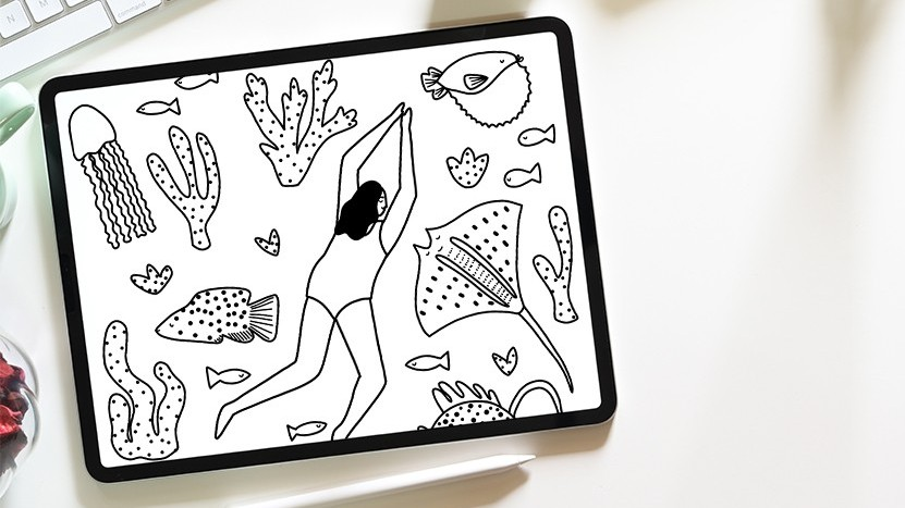 Photo of colouring template on iPad