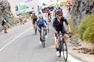 Sepp Kuss (Jumbo-Visma) shuts down an attack by Adam Yates (Ineos) and Miguel Angel Lopez (Movistar)