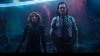 Tom Hiddleston and Sophia Di Martino as Loki and Sylvie in episode 6