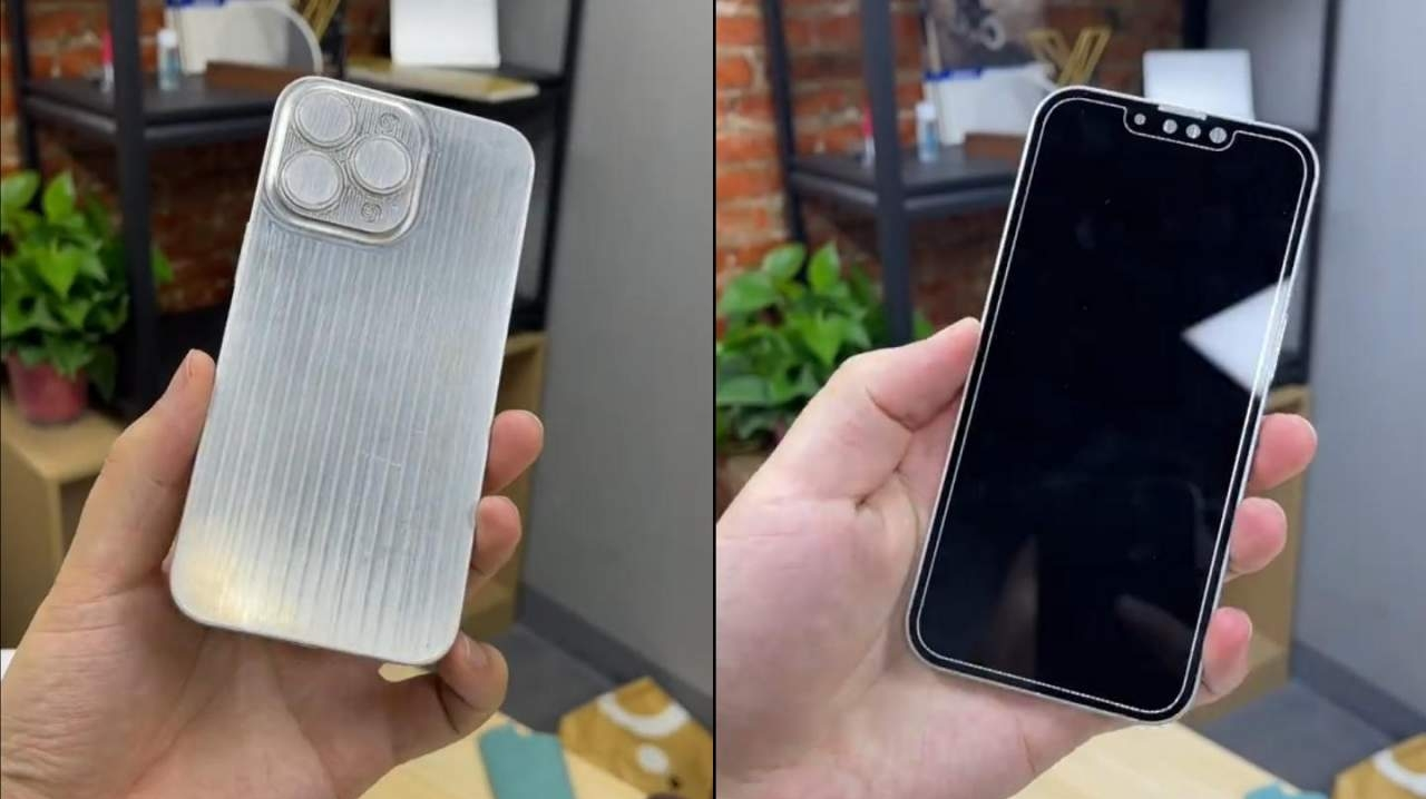 A dummy unit supposedly showing the iPhone 13 Pro's final design