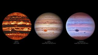 Jupiter in visible, ultraviolet and infrared wavelengths.