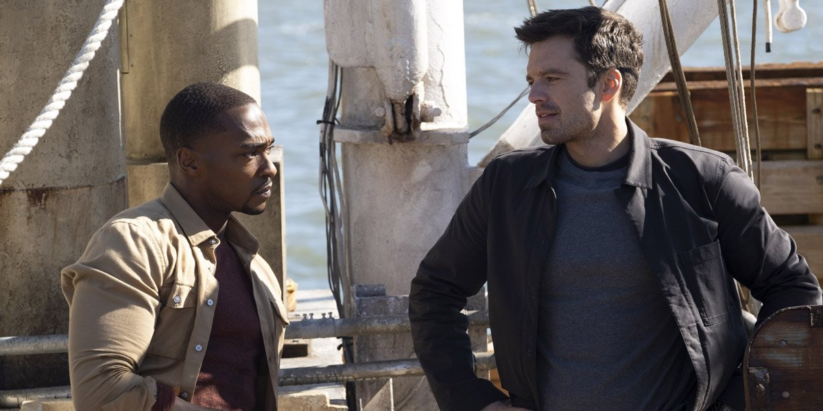 Sam Wilson/Falcon (Anthony Mackie) with The Winter Soldier (Sebastian Stan) on a boat in The Falcon And The Winter Soldier