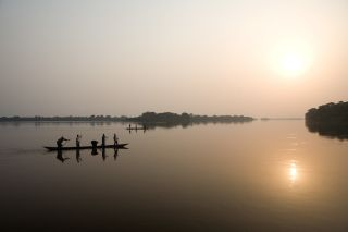 The Congo River at sunset in the Democratic Republic of the Congo.