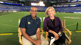 WBAL anchors Mindy Basara and Jason Newton on the home field of the hometown Baltimore Ravens.