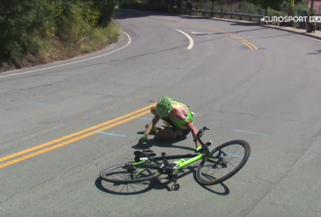 Watch the scary moment cyclist Toms Skujins falls off his bike