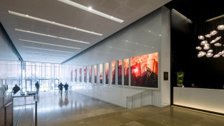 The lobby of Toronto's Globe and Mail Centre features a digitial signage installation of Planar TVF Series LED displays that play a series of calming artistic scenes.