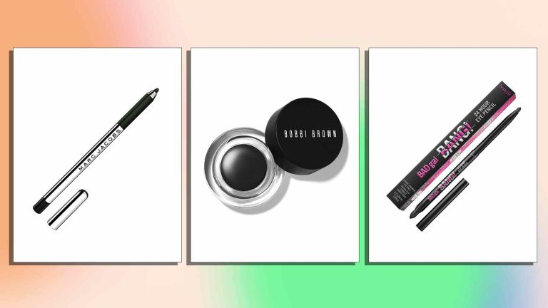 A selection of the best eyeliners is pictured from left to right, marc jacobs, bobbi brown and benefit