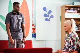 Lola Pearce visits Isaac Baptiste in EastEnders