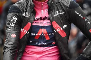 CANALE ITALY MAY 10 Filippo Ganna of Italy and Team INEOS Grenadiers Pink Leader Jersey at start during the 104th Giro dItalia 2021 Stage 3 a 190km stage from Biella to Canale Rain Detail view girodiitalia Giro on May 10 2021 in Canale Italy Photo by Tim de WaeleGetty Images