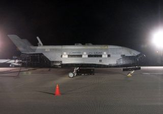 An Air Force photographer snapped this profile view of the X-37B shortly after its landing on Dec. 3, 2010, which marked the end of the secret vehicle's maiden space mission.