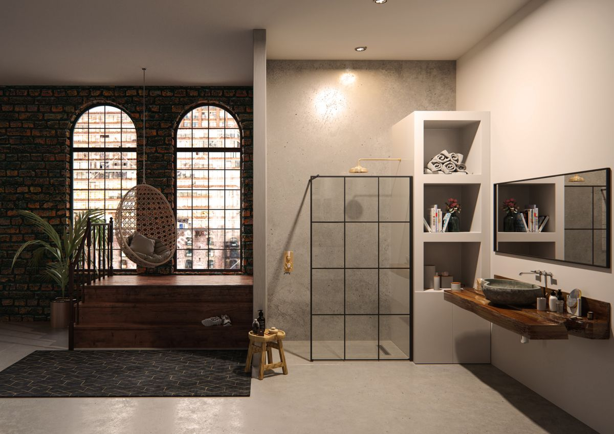Urban style steps into the shower with Crittall-style shower screens