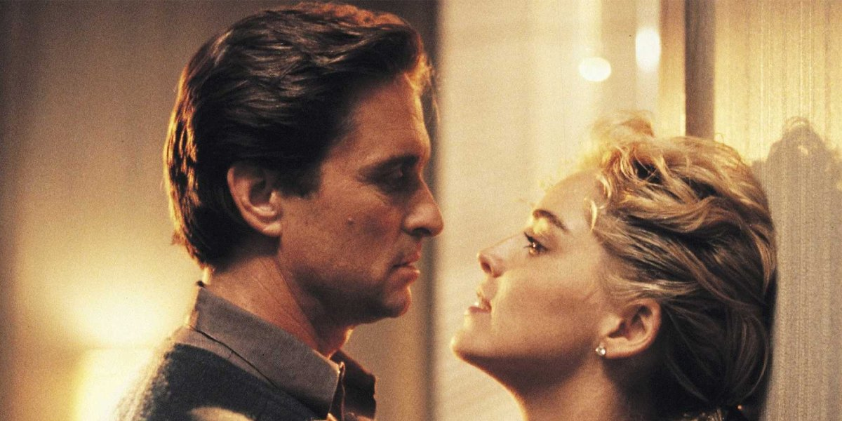 Michael Douglas and Sharon Stone in Basic Instinct