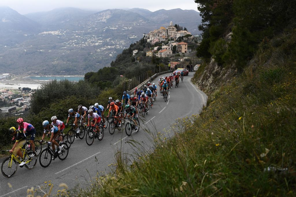 The pack rides the 110km 8th and last stage of the 77th ParisNice cycling race stage between Nice and Nice near La RoquettesurVar on March 17 2019 Photo by AnneChristine POUJOULAT AFP Photo credit should read ANNECHRISTINE POUJOULATAFP via Getty Images