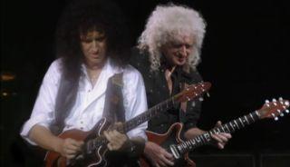 Brian May (left) jams with... Brian May