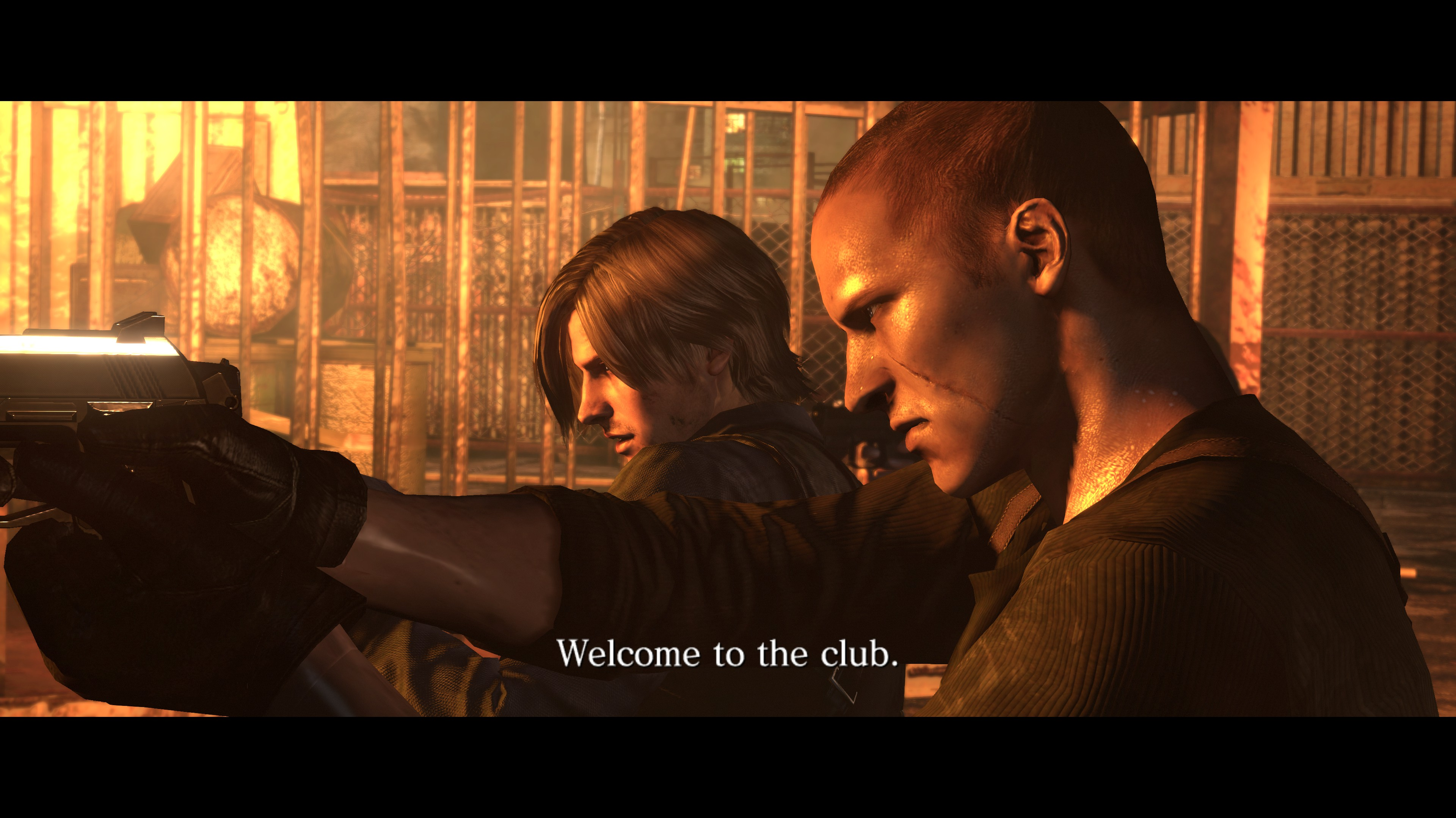 """A character aiming a gun and saying """"Welcome to the club"""""""