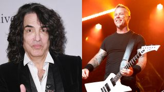 A photo montage of Paul Stanley and James Hetfield