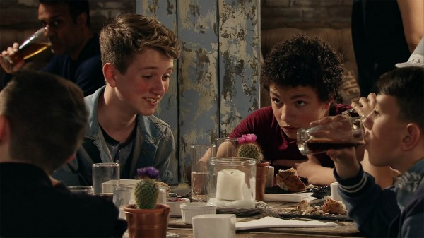 Simon Barlow (Alex Bain) gets drunk in Corrie after stealing vodka from the restaurant