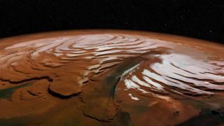 An image of Mars' northern polar ice cap, exaggerated to make the layers thicker and more noticeable.