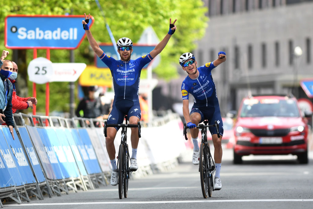 ONDARROA SPAIN APRIL 09 Arrival Josef Cerny of Czech Republic Mikkel Honor of Denmark and Team Deceuninck QuickStep Celebration during the 60th ItzuliaVuelta Ciclista Pais Vasco 2021 Stage 5 a 1602km stage from Hondarribia to Ondarroa Breakaway itzulia ehitzulia on April 09 2021 in Ondarroa Spain Photo by David RamosGetty Images