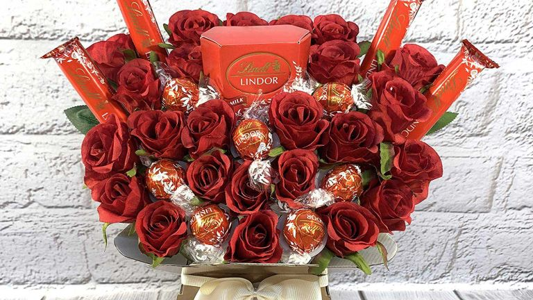 Large Lindt Lindor Chocolate Lovers Bouquet Gift Hamper with Red Silk Roses in Presentation Box