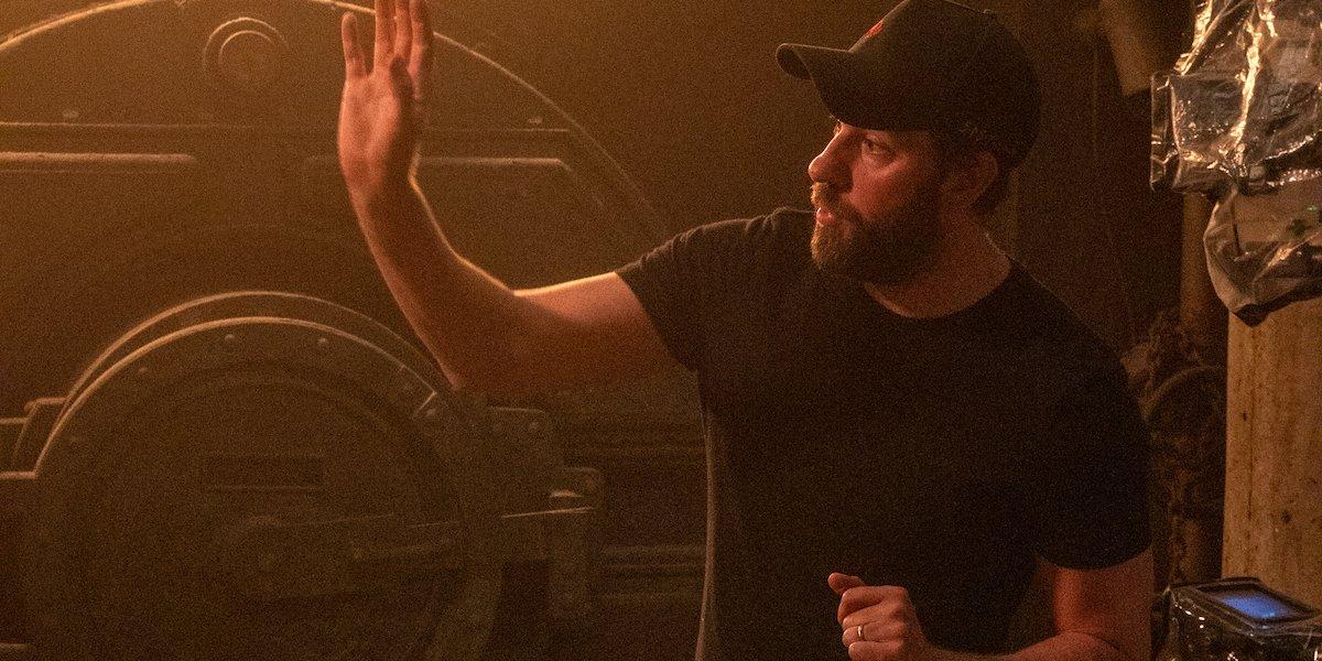 John Krasinski on the set of A Quiet Place II