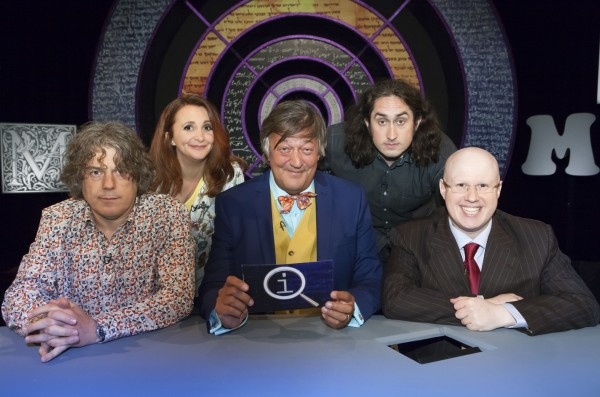 QI host Stephen Fry with Alan Davies, Lucy Porter, Ross Noble and Matt Lucas