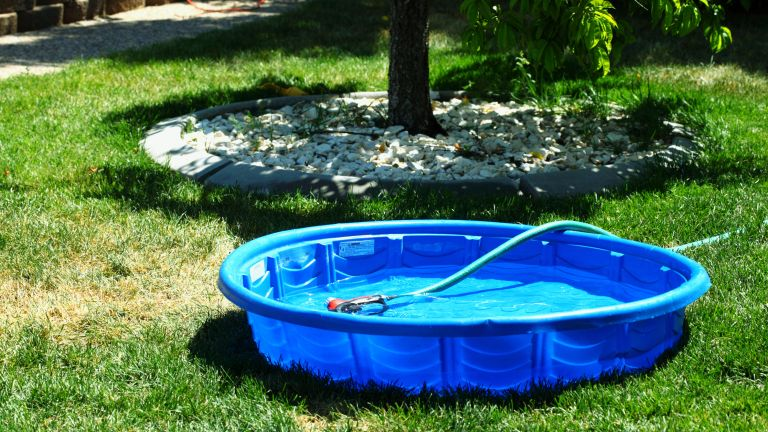 A paddling pool in garden