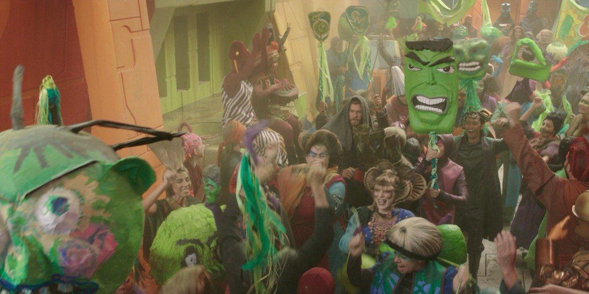 Screenshot from the Hulk Parade in Thor: Ragnarok
