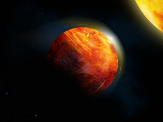 An artist's depiction of K2-141b, showing molten rock evaporating into a thin atmosphere in the region closest to the exoplanet's star.