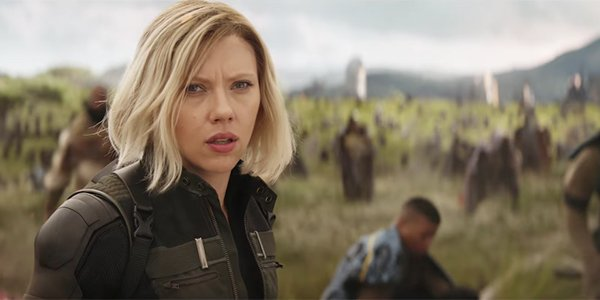 Black Widow thinking 'come on' in the Battle of Wakanda
