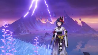 Sara stands in front of a lightning strike on Seirai Island
