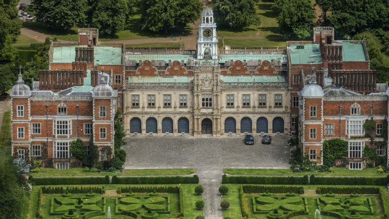 Aerial photograph of Hatfield house the childhood residence of Queen Elizabeth the first, on June 26, 2010. This Jacobean Country house was built in 1497, it is located 4 miles east of St Albans, on the eastern edge of Hatfield.