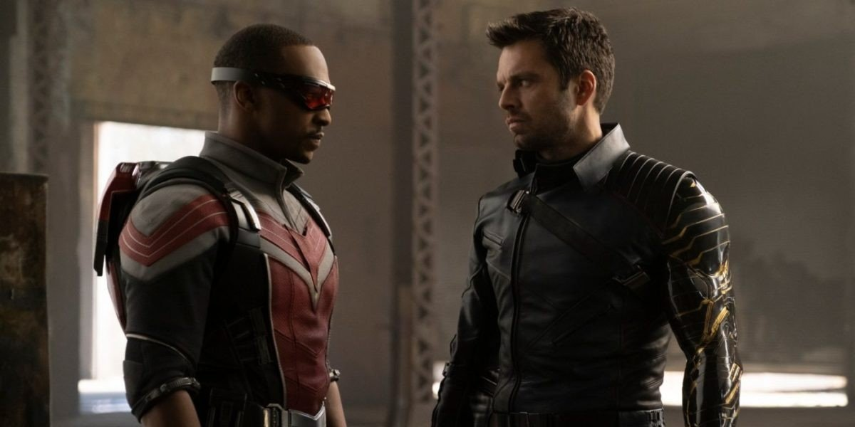 Sam Wilson (Anthony Mackie) and Bucky Barnes (Sebastian Stan) stare each other down in The Falcon and the Winter Soldier (2021)