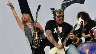 hris Robertson and Ben Wells of American rock band Black Stone Cherry perform live on stage during the first day of Hard Rock Calling, at Hyde Park on July 13, 2012