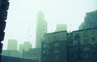 Rain on buildings