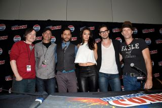 The cast of SyFy Channel's The Expanse science fiction TV series pose for a photo at New York Comic Con 2015.