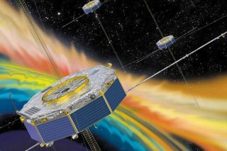 Illustration of the Magnetospheric Multiscale Mission passing through plasma in space.