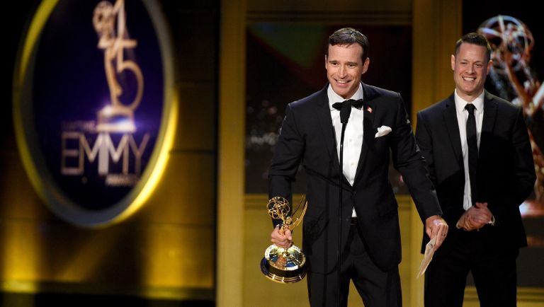 Mike Richards accepts the Outstanding Game Show award for 'The Price is Right' onstage during the 45th annual Daytime Emmy Awards at Pasadena Civic Auditorium on April 29, 2018 in Pasadena, California.