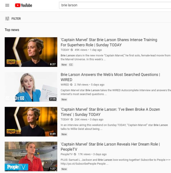 Brie Larson YouTube search results page