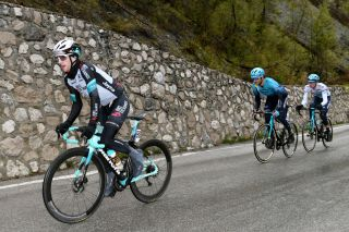 CORTINA DAMPEZZO ITALY MAY 24 Simon Yates of United Kingdom and Team BikeExchange Gorka Izagirre Insausti of Spain and Team Astana Premier Tech Aleksander Vlasov of Russia and Team Astana Premier Tech during the 104th Giro dItalia 2021 Stage 16 a 153km stage shortened due to bad weather conditions from Sacile to Cortina dAmpezzo 1210m girodiitalia Giro on May 24 2021 in Cortina dAmpezzo Italy Photo by Tim de WaeleGetty Images