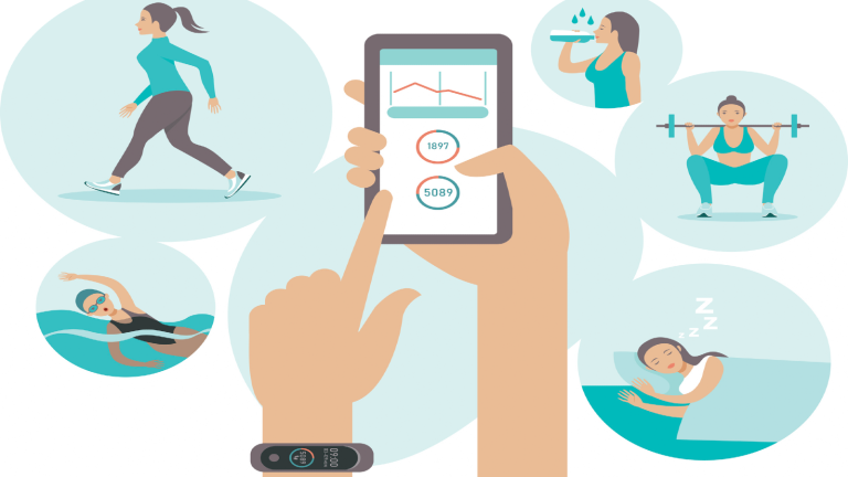 What Fitness Tracker Numbers Mean Illustration watch and tracker and woman doing sport