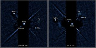 Two labeled images of the Pluto system, released on July 20, 2011, taken by the Hubble Space Telescope's Wide Field Camera 3 ultraviolet visible instrument with newly discovered fourth moon P4 circled. The image on the left was taken on June 28, 2011. The