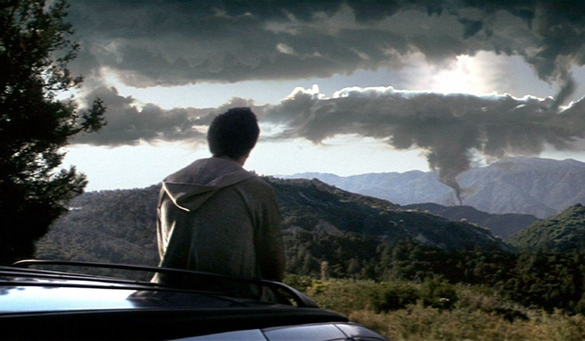 Donnie Darko Jake Gyllenhaal looks out at the forming portal