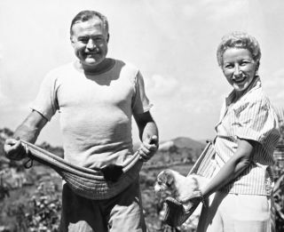 rnest Hemingway and his fourth wife, Mary Welsh, hold their pets on the Hemingway farm in Havana, Cuba, on March 20, 1946.