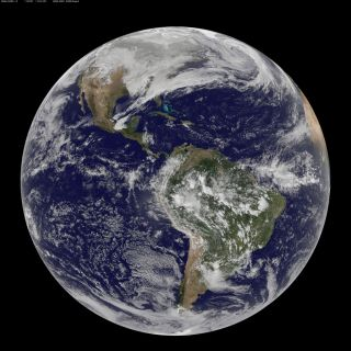This NASA/NOAA GOES-13 satellite image shows the Earth on March 2, 2010 at 8:45 UTC.