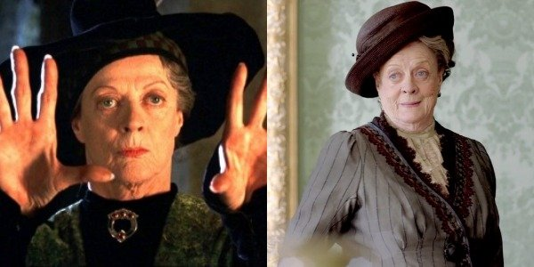 Maggie Smith as Professor Minerva McGonagall in Harry Potter and Violet Crawley, Dowager Countess of