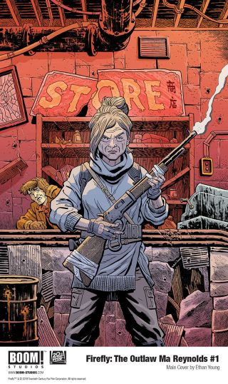 """Serenity captain Mal Reynolds visits his mom in """"The Outlaw Ma Reynolds"""" from Boom! Studios."""